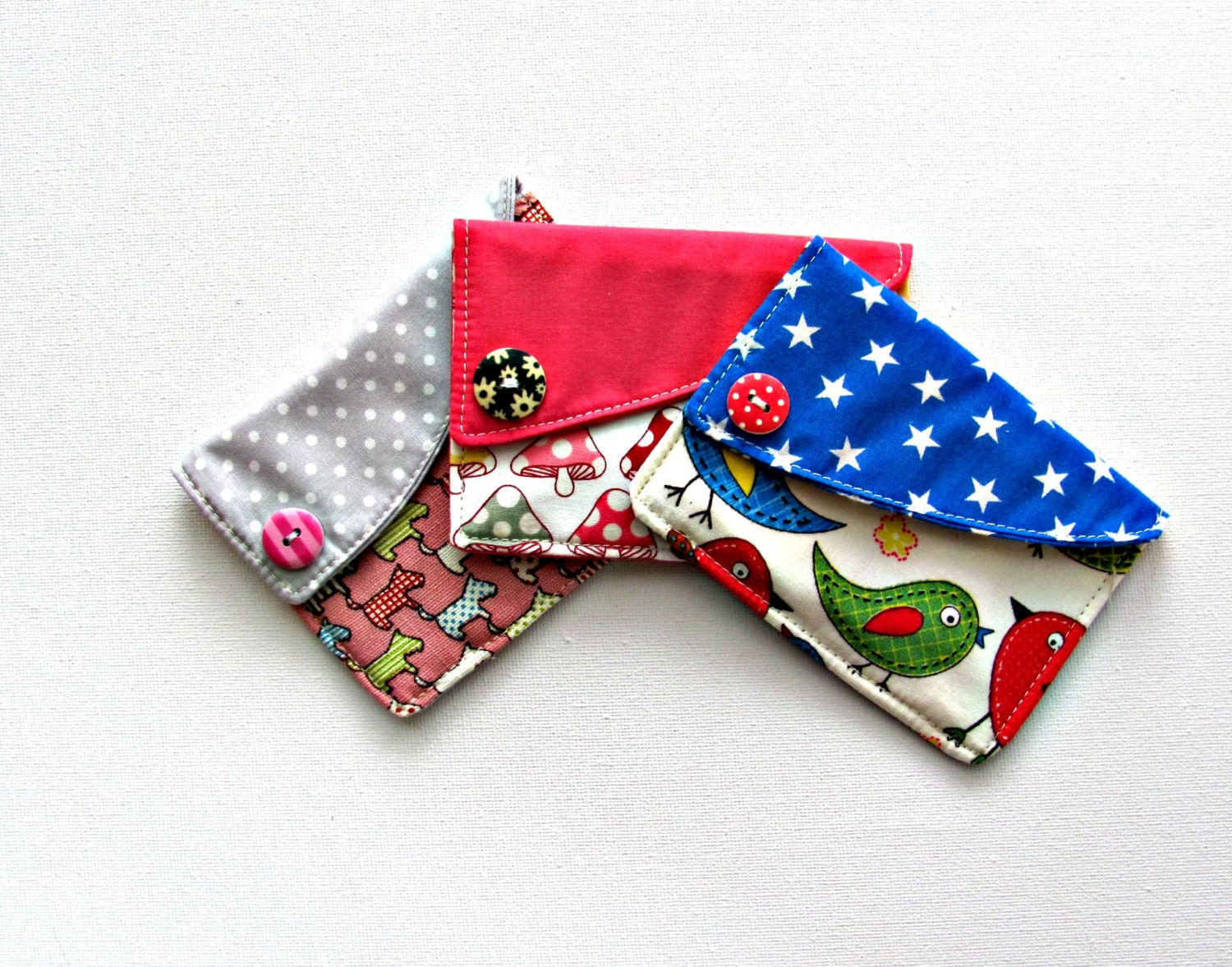 Credit card holder Fabric coin purse by ClaireWheatDesigns