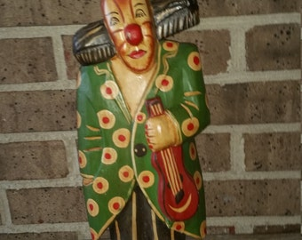 Hand Carved Hand Painted Clown Statue Folk Art