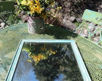 Aqua Wall Mirror , Up-Cycled Wall Mirror , Distressed Wall Mirror , Square Mirror , Beach Decor , Cottage Chic , Painted Mirror