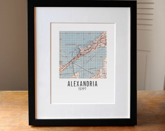 Any City Square Map Print, Customized Map Print, Alexandria Egypt Map Art, Egypt map, Map of Egypt, Custom Map Art