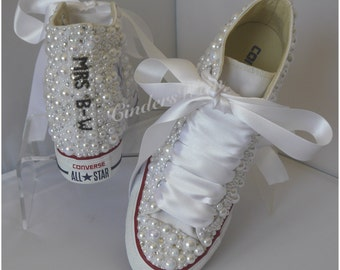 Converse Wedge Luxury pearl sparklers / All over converse / Bridal converse / Wedding converse / pearl converse / bling converse /