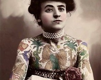 Antique Circus Freak Show Hand Tinted Photograph Of Tattooed Lady A3 Reprint