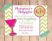 Monogram & Margaritas Happy Hour Bridal Shower Invitation PRINT AT HOME - pdf and jpeg files