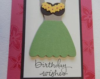 Hula Girl With Coconut Bra Birthday Card