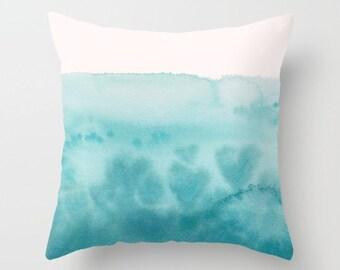 Aqua Teal Watercolor Throw Pillow , Waves of Love,  teal and white, hearts, ocean, coastal, throw pillow, cushion, cute, sofa, bed, dorm