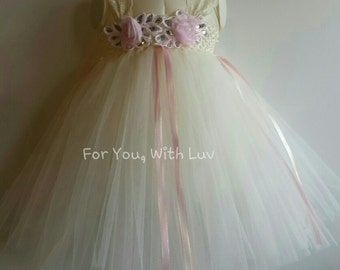 Ivory and Soft Pink Empire Tutu Dress, Valentine's Day Tutu Dress, Ivory Flower Girl Dress, Ivory Tutu Dress