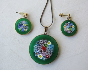 Vintage Green Millifiori Glass Pendent and Necklace