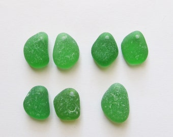 Green sea glass beads 7 p. Top drilled sea glass beads jewelry making supply jewelry supplies authentic beach glass beads pairs (DSG-47)