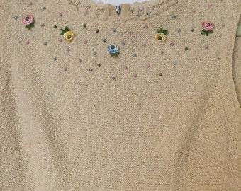 Vintage 60s knit shift dress-size xs/s
