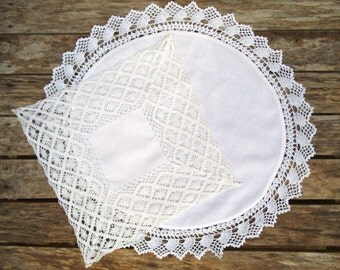 Crocheted Lace Doilies, 2 x White Cotton Lace Doilies, Large Round Doily with Lace Trim, Square Lace Doily with Deep Border of Lace.
