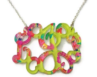 Monogram Necklace | Monogrammed Acrylic Necklace | Lilly Pulitzer Inspired  Monogram  | Gift For Her