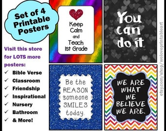 First Grade Teacher Gifts, Keep Calm and Teach First Grade, 1st Grade Teacher, Gift Ideas for Teachers, Classroom Decor, Printable Posters
