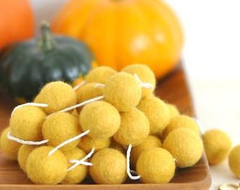 Fall Garland - Autumn Garland - Mustard Yellow Felt Ball Garland  - Yellow Garland - Pom Pom Garland - Mustard Home Decor