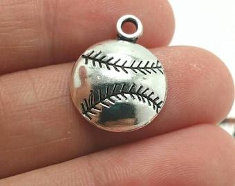 BULK 50 Baseball Charms, Silver Baseball Charms, Softball Charms, Bulk Charms (5-1072)