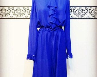 1960's Sheer Indigo Blue Hipster Chiffon Secretary Dress by The Kollection Ltd, Size Large, Vintage SHEER Pinstripe Hipster Dress, 60s Dress