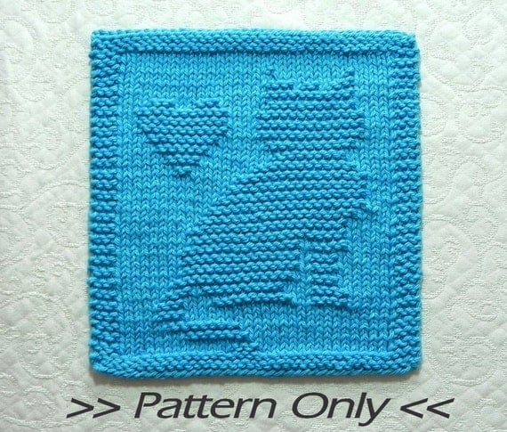 Free Knitted Quilt Block Patterns : Cat with heart knit pattern quilt block wash cloth