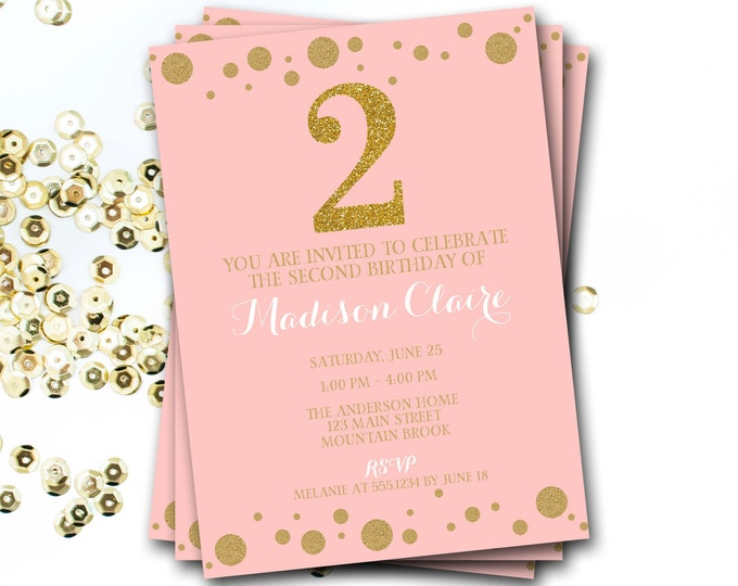 Pink And Gold Birthday Invitation, Pink And Gold Invite, Glitter Invitation, Confetti, Girl Invitation, First Birthday, DIY Printable