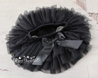 Baby Black TUTU Bloomers,Ruffles All Around Bloomer,Chiffon Ruffle Diaper Cover,Newborn Photo Prop,Baby Bloomers,Baby TUTU Skirt