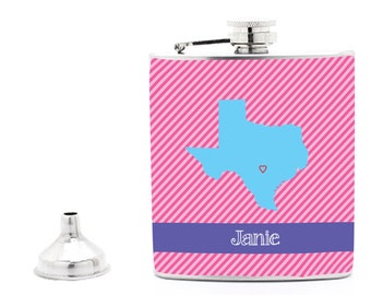 Any State, Diagonal Stripe Texas State Hip Flask, 21st Birthday Gift, Bridal Party, Groomsman, Bridesmaid Gift Liquor Flask Funnel