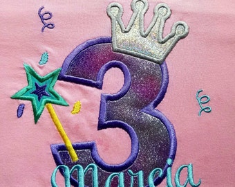 Girls birthday princess crown and wand shirt
