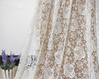 "Lace Fabric Ivory Rose Soft Stretchy Wedding Fabric DIY Handmade 59"" width 1 yard"