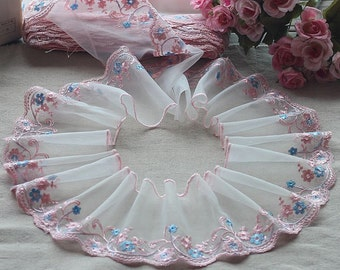 2 Yards Lace Trim Pink Floral Embroidered Ivory Tulle Lace 4.72 Inches Wide