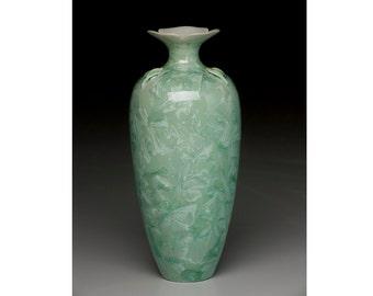 unique, crystalline glazed porcelain vase