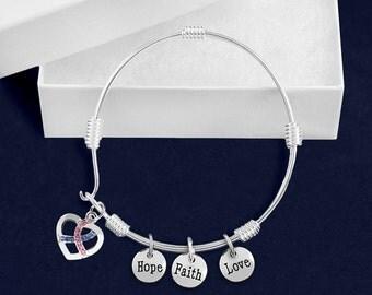 Wholesale Bangle Bracelets With Pink & Blue Crystal Ribbon Charms (18 Bracelets) (BB-100-16)