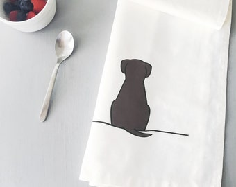 Sitting Dog Tea Towel, Screen-printed in the UK, Gift for Dog Lovers, Designer Kitchen Towel