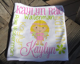 Personalized Fairy Baby Blanket - Custom Fairy Receiving Blanket - Baby Name Blanket - Newborn Swaddling Blanket - Baby Girl Shower Gift