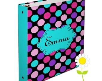 Personalized Binder for Kids - Polka Dot 3 Ring Binder for Girls - Custom School Binder - Black, Pink, Purple & Aqua Polka Dot Binder