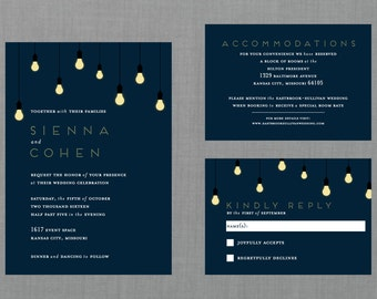 Modern Glowing Light Bulb Wedding Suite // DOWN PAYMENT towards Printed Sets // Modern Wedding, Whimsical Wedding, Light Garland Invitation