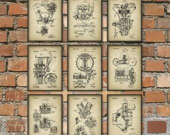 Vehicle Component Patent Print Set Of 9 #1 - Car Design - Garage Mechanic - American Car Industry - Car Repair - Car Parts - Mancave Car Art