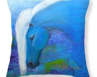 Blue horse pillow,  horse decorative throw pillow, blue accent pillow, original painting by Nancy Quiaoit at NancyQart