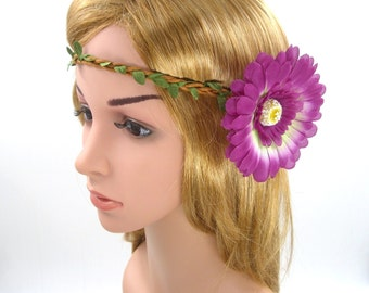 Purple Flower Crown,Purple Daisy Headband,Purple Daisy Crown,Purple Flower Headband,Wedding Bridal Bridesmaids Headband,Girls Women Hairband