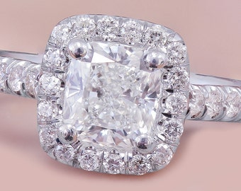 18k White Gold Cushion Cut Diamond Engagement Ring Halo 1.60ctw G-VS2 GIA