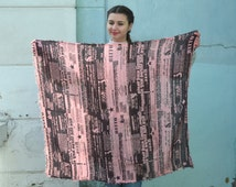 Letters Book Scarf, pink black, rayon Wrap Scarf, summer scarf, Beach Cover Up, Letters Scarf, Printed Wrap Scarf, text newspaper