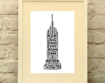 New York Empire State Building Personalised Print