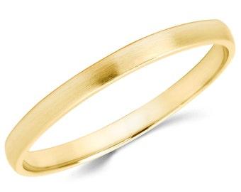 14K Solid Yellow Gold 2mm Brush Finish Wedding Band Ring