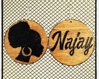 Afro Puff Earrings with personalized burned back