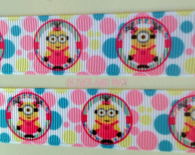 """Clearance Minions Ribbon 22mm 7/8"""" Grosgrain By the Yard or By the Metre hairbows Birthday Party Ribbon"""
