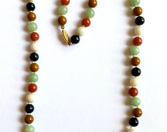 Vintage Multi-Colored Jade Beaded Necklace