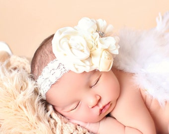 Ivory Rolled Rosette Headband with Sparkling Rhinestone Embellishment/Christening Headband/Special Occasions/MORE COLORS AVAILABLE
