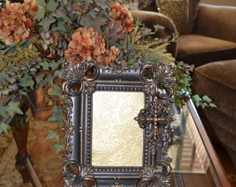 Embellished 5 X 7 Fleur de Lis Picture Frame w/Decorative Cross and Swarovski Crystal Accents