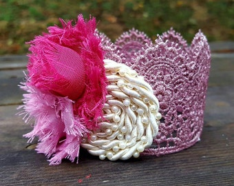 Pink Sparkle Princess Crown | Newborn Crown Photo Prop | Sparkly Party Hat | Baby Photography Accessory |  Toddler Birthday Hat