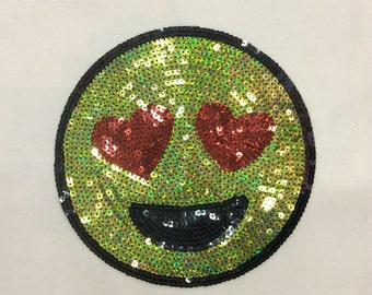 Green Smile sequined patch happy smile embroidered patch sew on or iron on applique patch