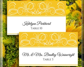 White Sunflower Yellow Swirl Printable Tented Place Card Wedding Editable Template DIY Instant Download Wedding Signage Do It Yourself