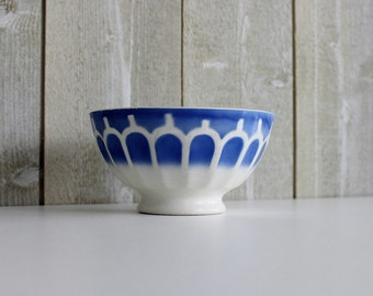 Cafe au lait bowl. Coffee bowl. Digoin. French vintage. Blue. French bowl. Shabby chic. French breakfast. Bowl Digoin // D280