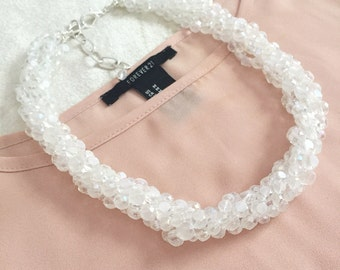 The Zara Twisted Crystal Statement Necklace, Bridal Statement Necklace, Crystal Necklace, Layered Necklace, Crystal Bridesmaid Necklace