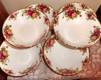 SALE! Royal Albert Old Country Roses Bowls x 6. Fruit, Pudding, Cereal, Soup Bowls, Dessert Dishes 1st Condition, Vintage, Made in England,